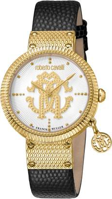 Roberto Cavalli by Franck Muller Dotted Leather Strap Watch, 34mm