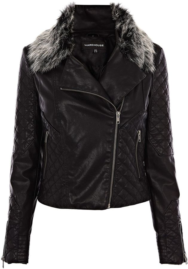 Women's Warehouse Faux fur collar faux leather jacket