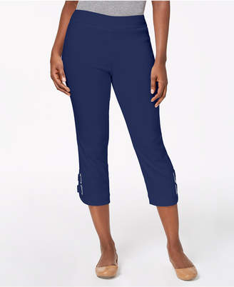 JM Collection Buckle-Hem Capri Pants