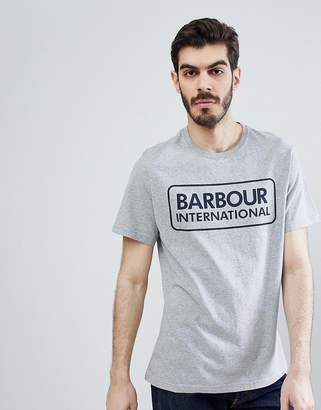 Barbour International Large Logo T-Shirt In Gray Marl