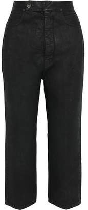 Rick Owens Cropped Coated High-rise Straight-leg Jeans