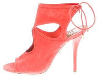 Aquazzura Sexy Thing Cutout Booties Coral Sexy Thing Cutout Booties