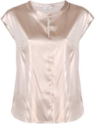 Peserico keyhole cap sleeve blouse