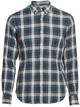 Officine Generale Textured Plaid Cotton Shirt
