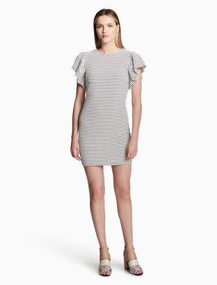 Calvin Klein dot stripe flutter sleeve sheath dress
