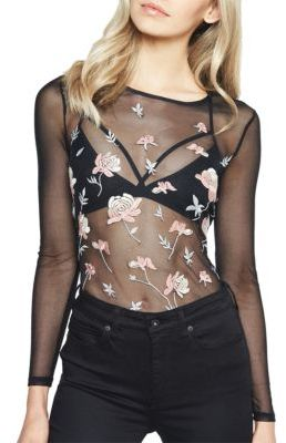 Bardot Floral Embroidered Mesh Top $79 thestylecure.com