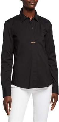 Lafayette 148 New York Phaedra Italian Stretch Cotton Long-Sleeve Blouse