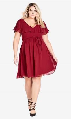 City Chic Citychic Shirred V Neck Dress