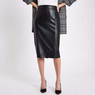 River Island Black faux leather pencil skirt