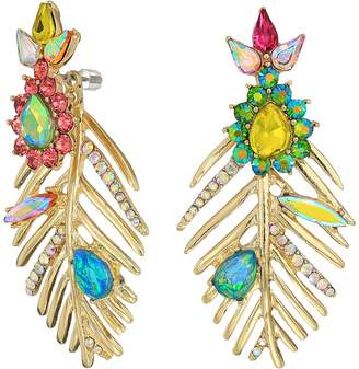 Betsey Johnson Gold Leaf Mismatch Drop Earrings Earring