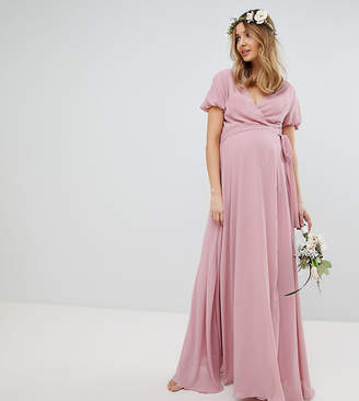 TFNC Maternity Maternity Wrap Maxi Bridesmaid Dress With Tie Detail And Puff Sleeves