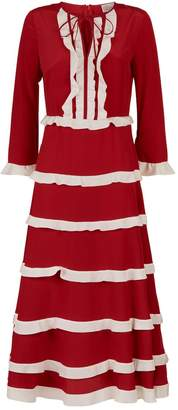 RED Valentino Ruffle Tier Silk Dress