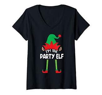 Womens Elf Matching Family Group Christmas Gifts I'm The Party Elf V-Neck T-Shirt