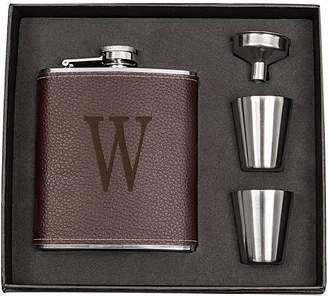 Cathy's Concepts Cathys Concepts Personalized Brown Leather Wrapped Flask Set
