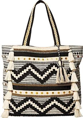 Steve Madden Raine Bohemian Tasseled Chevron Patterned Fabric Tote