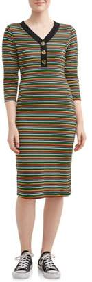 No Comment Juniors Henley Button Midi Dress