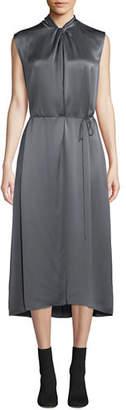 Vince Knot-Front Sleeveless Silk Midi Dress