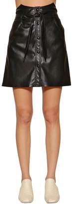 High Waisted Faux Leather Mini Skirt