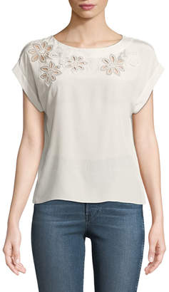 Rebecca Taylor Silk Floral Cutout Short-Sleeve Blouse