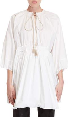 Ter Et Bantine Tie-Neck Gathered Cotton Blouse