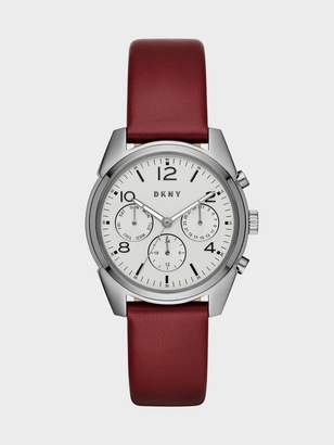 Donna Karan Donnakaran Crosby Lacquer Leather And Grey Ip Chronograph Watch Burgundy/Grey N/S