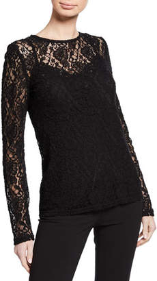 Dolce & Gabbana Long-Sleeve Crewneck Stretch-Lace Blouse