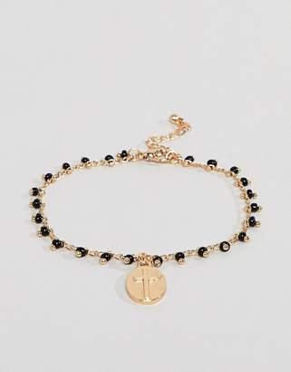 Asos Design DESIGN bracelet with vintage style charm in gold