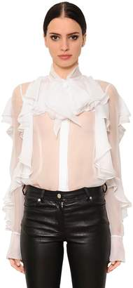 Givenchy Ruffled Sheer Silk Chiffon Shirt