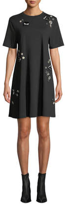 McQ Embellished Crewneck Babydoll Dress