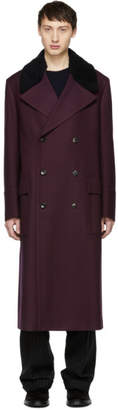 Paul Smith Burgundy Houndstooth Gents Overcoat
