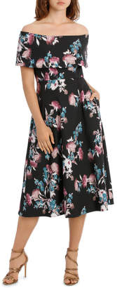 Ombre Bouquet Off Shoulder Fit And Flare Dress