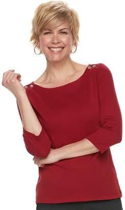Croft & Barrow Women's Button-Shoulder Boatneck Top