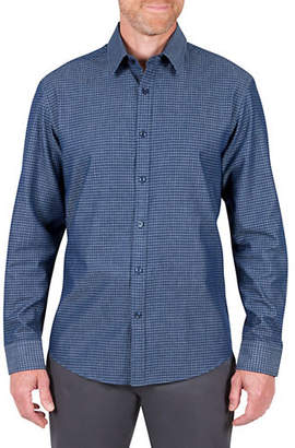 Haggar HERITAGE Regular Fit Denim Grid Sport Shirt