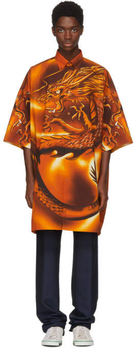 Orange Big Dragon Shirt
