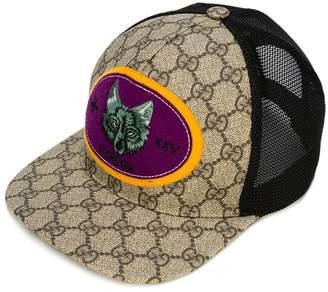 Gucci Kids GG Supreme wolf-patch cap