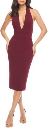 Dress the Population Vanessa Halter Body-Con Midi Dress