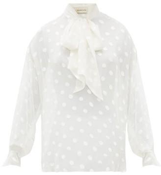 Alexandre Vauthier Polka Dot Pussybow Silk Blend Blouse - Womens - Ivory