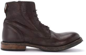 Moma Cusna Ankle Boot In Dark Brown Leather With Side Zip
