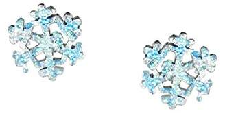 Jo for Girls Sterling Silver Blue Glitter Snowflake Stud Earrings