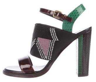 Dries Van Noten Python-Trimmed Embellished Sandals