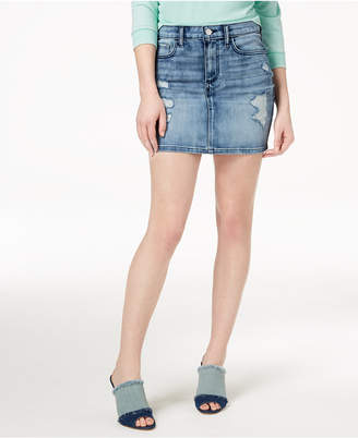 GUESS Ripped Denim Skirt