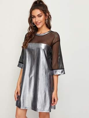Shein Mesh Yoke Keyhole Back Metallic Dress