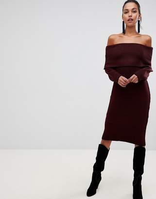 Liquorish off shoulder midi sweater dress