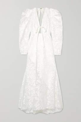 Rosie Assoulin Mary Had A Little Lamb Flocked Cotton-blend Chiffon Dress - White