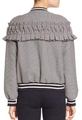 Mother of Pearl Ezra Ruffle Houndstooth Bomber Jacket