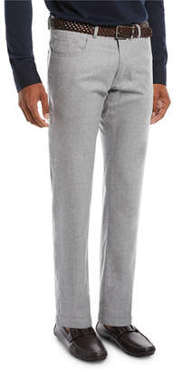 Peter Millar Men's Alpine Flannel Wool Five-Pocket Straight-Leg Pants