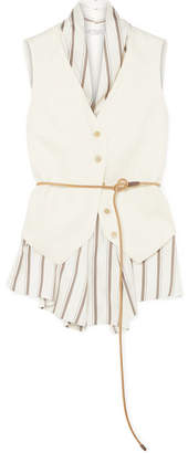Brunello Cucinelli Belted Layered Canvas And Striped Satin Vest - White