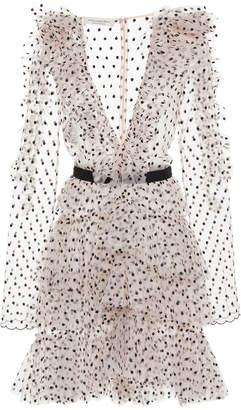Philosophy di Lorenzo Serafini Polka Dot Embroidered Ruffle Chiffon Dress