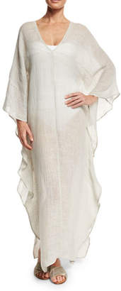 Flora Bella Dovecoat Long Linen Caftan Coverup, Light Gray $313 thestylecure.com
