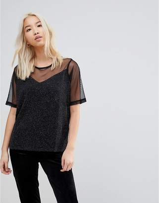 B.young Sheer Panel Blouse